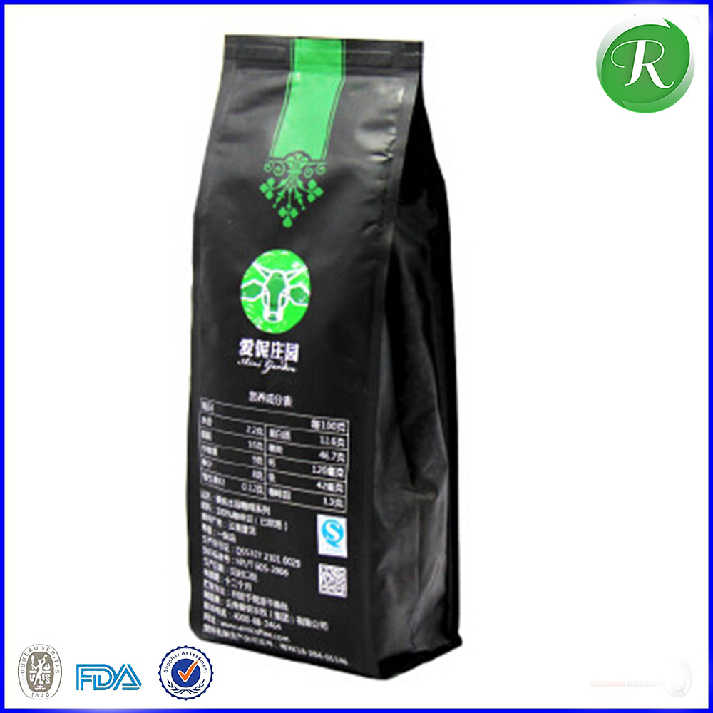 Resealable side gusset coffee packing bags with one way degassing valve / custom aluminum foil coffee bags wholesale