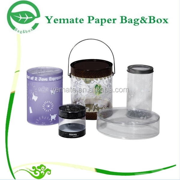 custom made craft printed plastic transparent gift packaging round cylinder tube box
