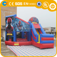 Commercial inflatable spider bouncer with slide,spiderman man games,spiderman inflatable