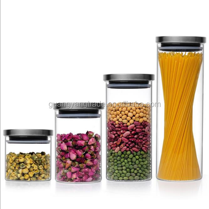 New product 300 ml glass jars with wood lid glass jar with cork lid/Tea storage tanks