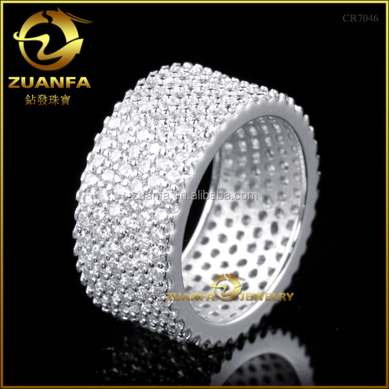 wholesale full cubic zirconia iced out rhodium plated 925 silver diamond ring