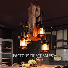 Loft industrial creative antique wood pendant light with glass cover for Cafe Bar Restaurant