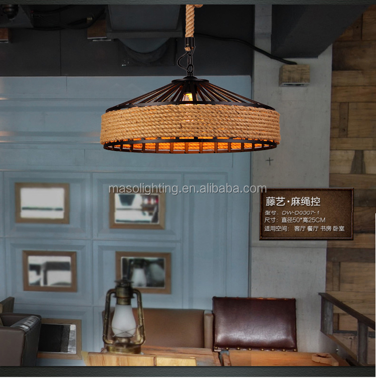 Nordic Black cage Hemp Rope Pendant lamp Bar Counter Loft Retro drop Light Chinese Resturant Hall way Decorative Vintage lamp