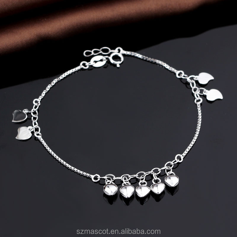 Cute Girls 925 Sterling Silver Dangling Hearts Ankle Bracelet