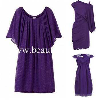 purple fashion dress EUAH0589