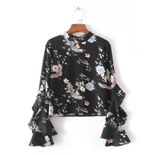 KS30011A Fancy Ladies Flounce long Sleeve Tops Floral Shirt 2017 New Women Casual Blusas