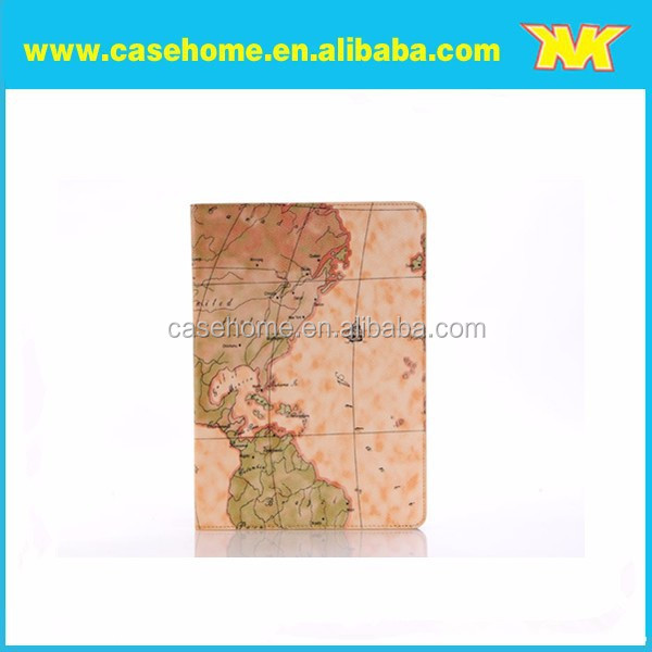 New fashion map grain leather case for ipad air2, Durable Stand Map Grain Leather Tablet Case for ipad 2 3 4 5