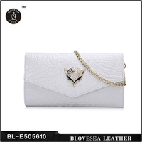 Sexy Lady Metal Chain Fox Crocodile Skin Genuine Leather White Clutch Purse