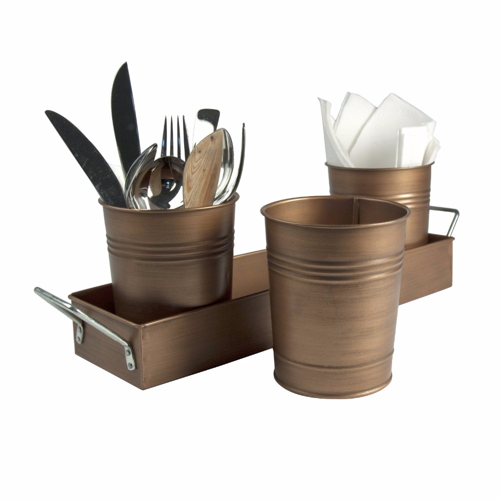 Metal Tray & Bucket Cutlery Caddy & Planter Set, Galvanized With Copper Finishing