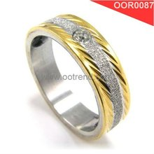 Golden plated in two sides brushed stainless steel rings for lovers