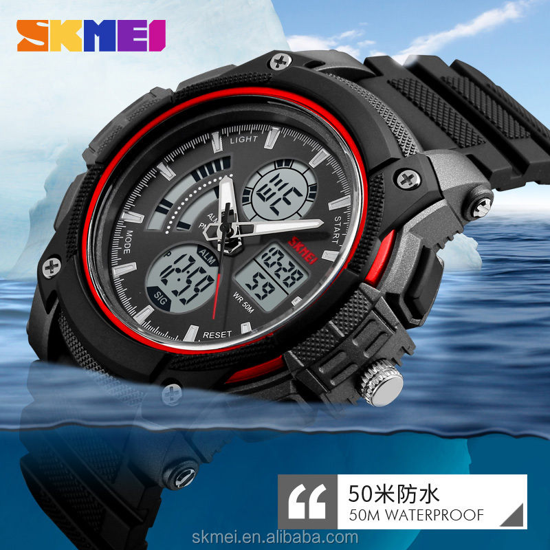 Latest style hand clock analogue waterproof watches men sport model