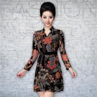 Fall silk velvet dress,clothes for women