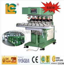 Six color conveyor belt sealed ink cup tampo pad printing machine for cell phone button, golf ball, toys, pens, mouse