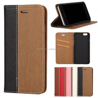 wood flip wallet stand PU leather phone case cover for Apple iphone 7 6 6s 6s plus 5 S 4 SE A C mobile accessories