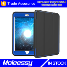 Tri-folding smart leather ultra thin cover case for ipad mini 4