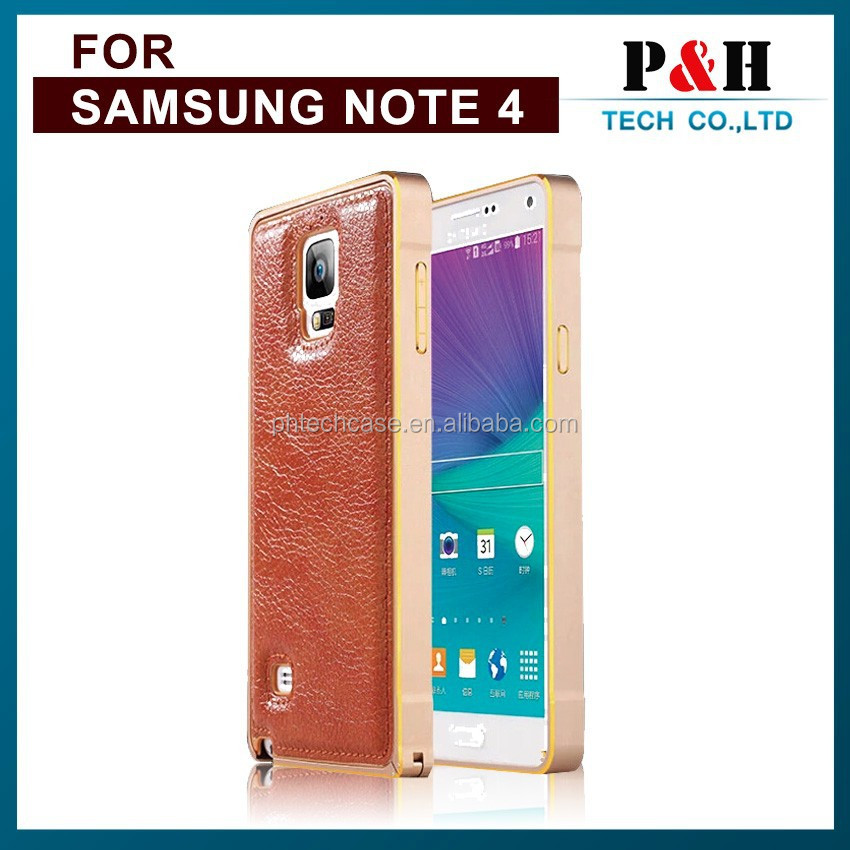 For Samsung Galaxy Note 4 sublimation case aluminum bumper genuine leather case