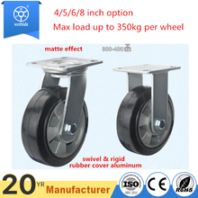 "8 "" industrial swivel rubber contact wheel with 150mm trolley wheel"