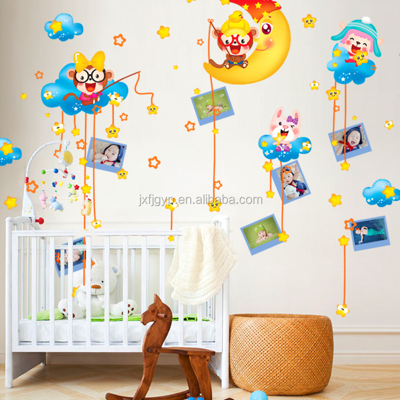 Removable creative bedroom living room sofa star and moon photo frame wall sticker for home decoration