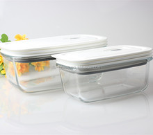 dinnerware set eco-friendly rectangle shaped glass storage box & bin BPA free plastic lunch fruit food glass canister jar