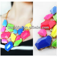 New arrival polygon colorful necklace and earrings set