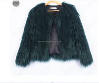 Women Fur Coat Faux Fur Vest Lady Mixed Color Winter Long Fur Coat