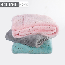 Hot Stamping Colorful Foil Dots Rabbit Faux Fur Mink Throw Blanket