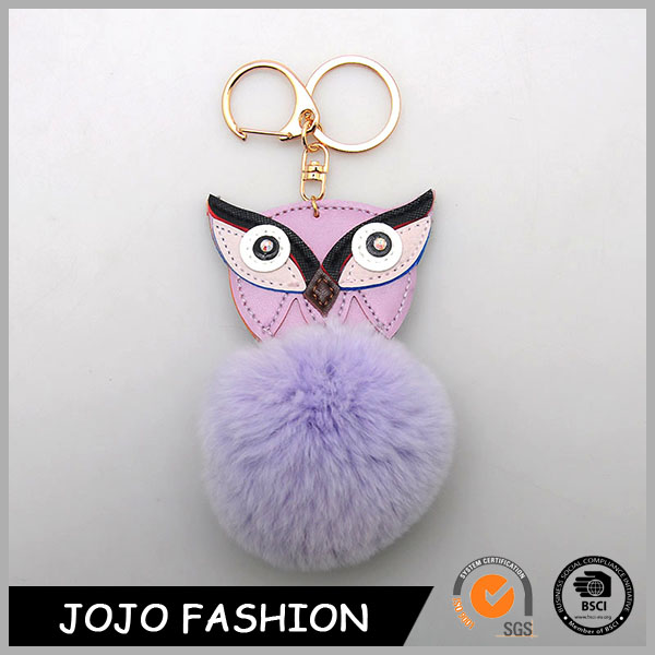 2017 owl shape pokemon fake rabbit fur personalized keychain