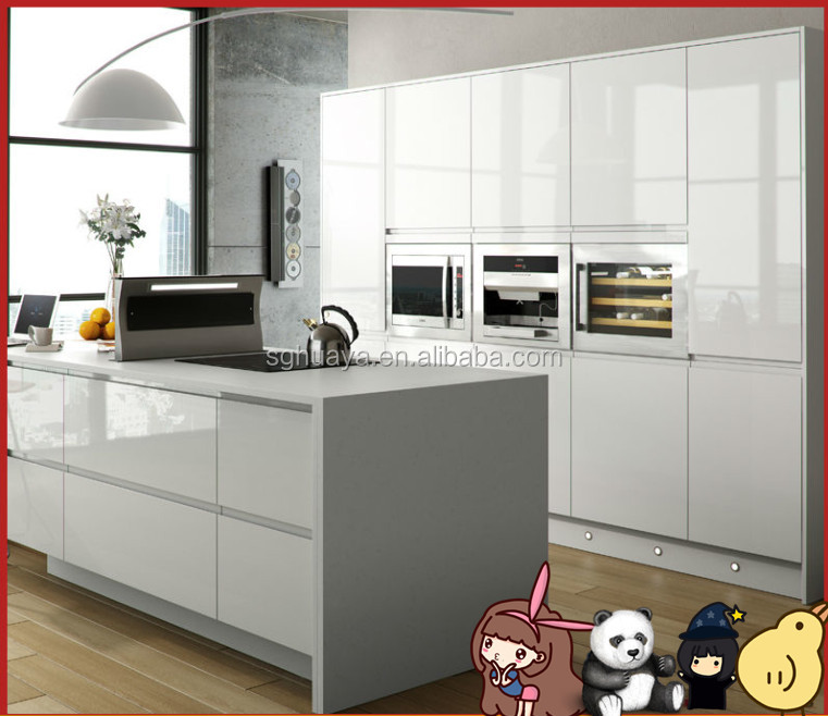White lacquer high gloss finish kitchen cabinet 2 doors for High gloss kitchen cabinets