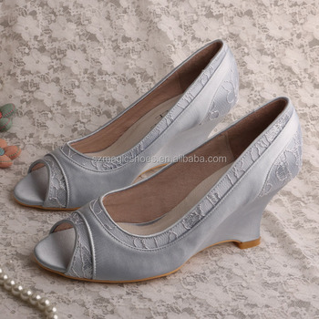 Wedding Party Wedge Shoes Silver