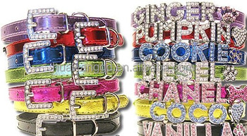 Large stock wholesale for personalized shiny leather collars with letters