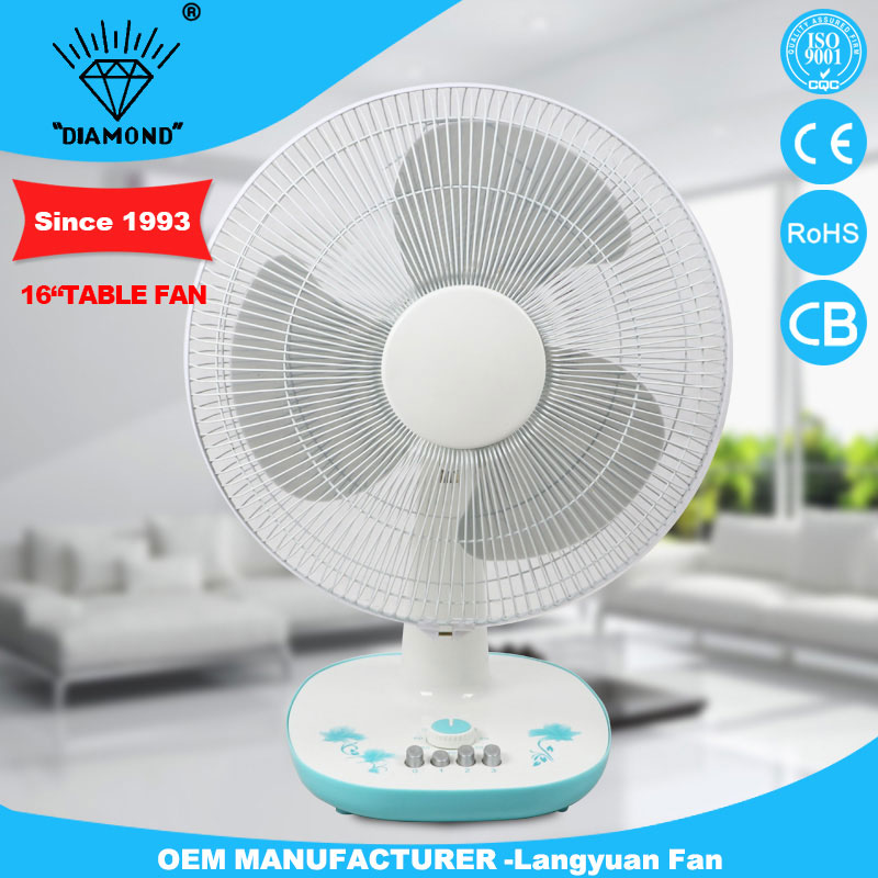 Safety height adjustable table fan with timer control