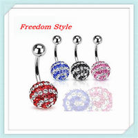 Hot sale White Crystals Stripe Crystals Clay Ball Navel Rings