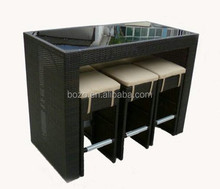 bistro high bar chairs and table, swimming pool rattan bar furniture