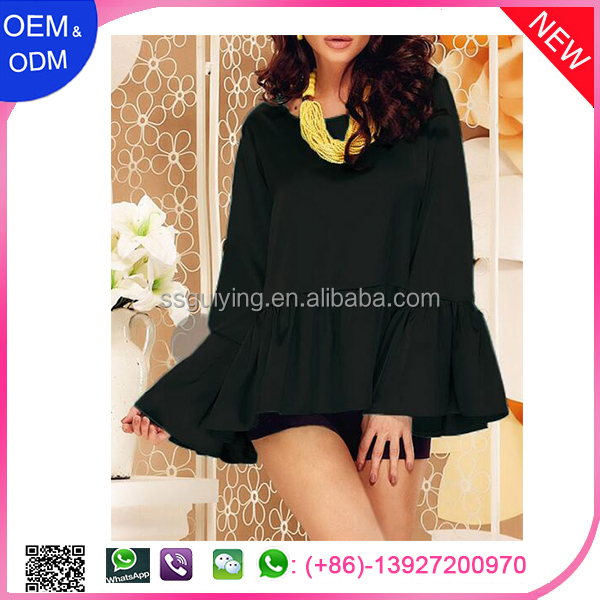 Sexy Lady Black Flounce Wide Sleeves High Low Hem Blouse Top