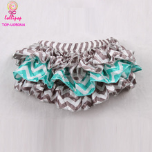 2017 Wholesale new arrrival turquoise grey cloth diaper skirt ruffle baby diaper cover bloomer