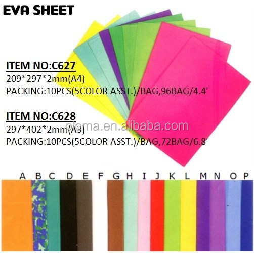 A4 and A3 size 2mm Thickness high quality colorful EVA sheet EVA FOAM