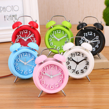 Plastic Material Pure Color alarm clock/Table clocks with convex words