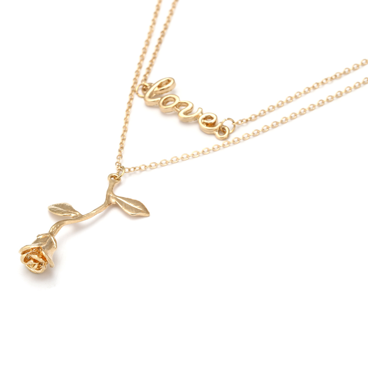 Fashion High Quality Lover Gift Plating Gold Rose Pendant Women Necklace