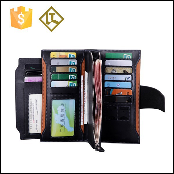 promotion cheap black leather wallet purse for euros