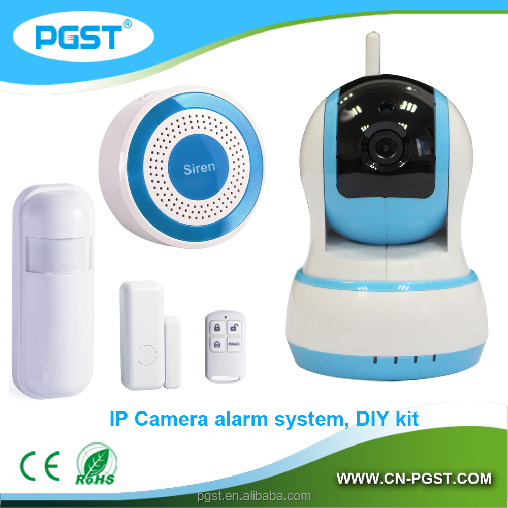WIFI IP camera security home/office/shop alarm system with wireless remotes/PIR /door sensor
