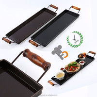 Non Slip Black & Coffee Color Serving Tray For Fast Food , Cake , Bread