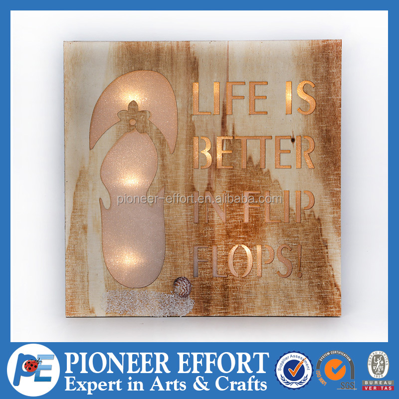 Wooden battery operated led light box for home decoration
