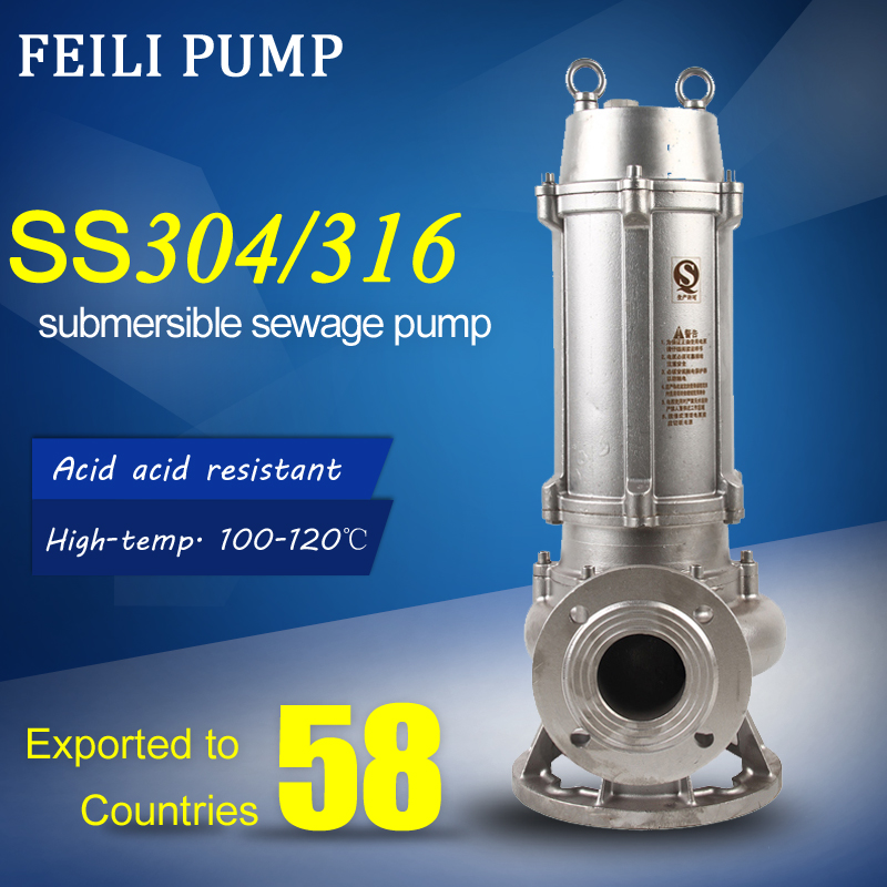316 impeller sewage pump sea water pumps 40 kw submersible sewage pump