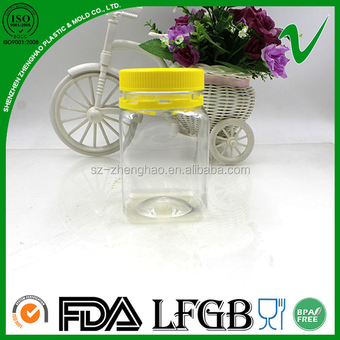 PET transparent empty wholesale custom made 500g square plastic honey jar with tamper proof lid