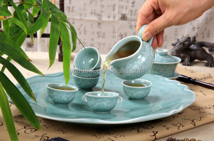 Grace porcelain tea sets with tea tray 9 in 1 ,carved with flower QFCB-19-1
