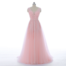New Coming Lace Appliques Long Tulle Pink Lace Evening Dress