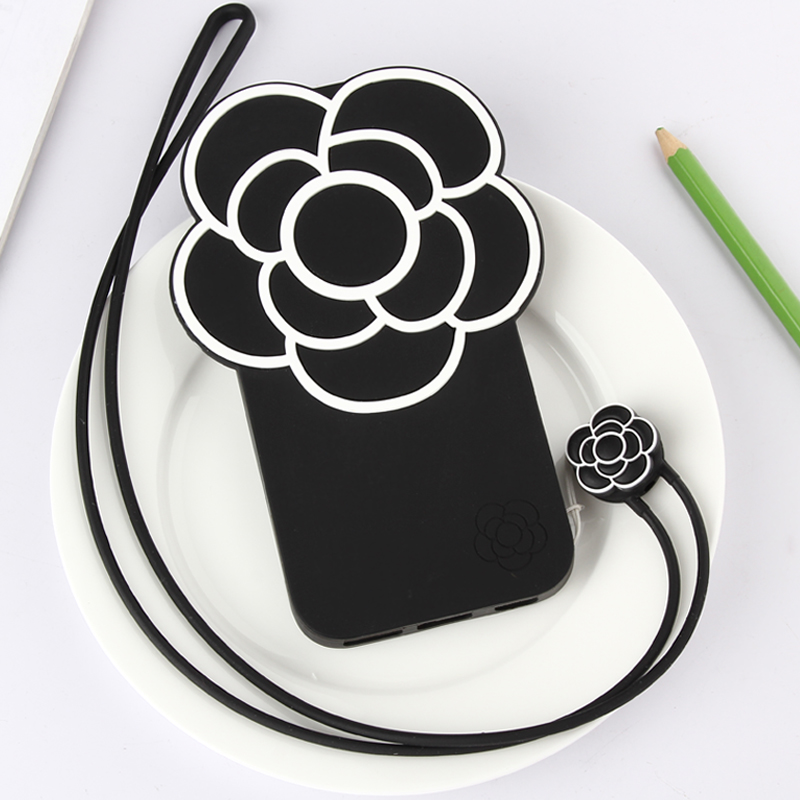 Cute Silicon Phone Cover Case with cartoon lanyard for iphone6 plus/ iphone7 plus