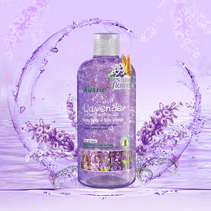 Attractive Flower Scented Hand-picked Petals Lavender Shower Gel For Women's Super Sensitive Skin Renewing