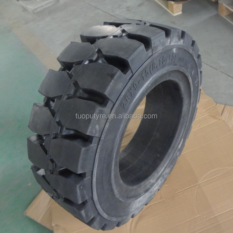 airless rubber tyres forklift tyre 28x9-15 8.15-15 solid tire