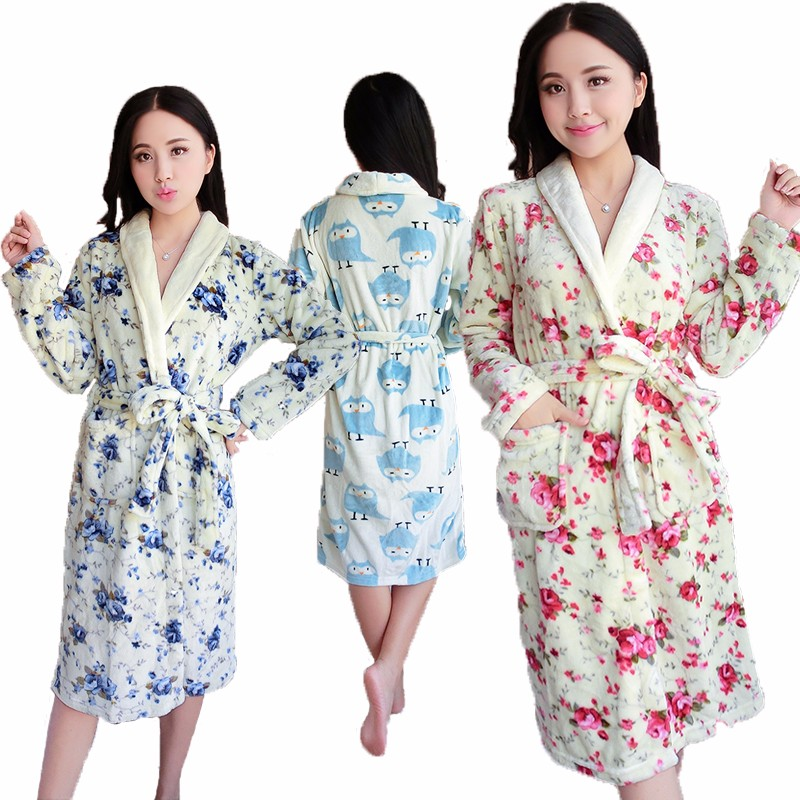 2017 Hot Sale Coral Flannel Bath Robe For Women